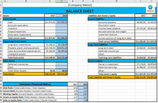 template topic preview image Basic Excel Balance Sheet