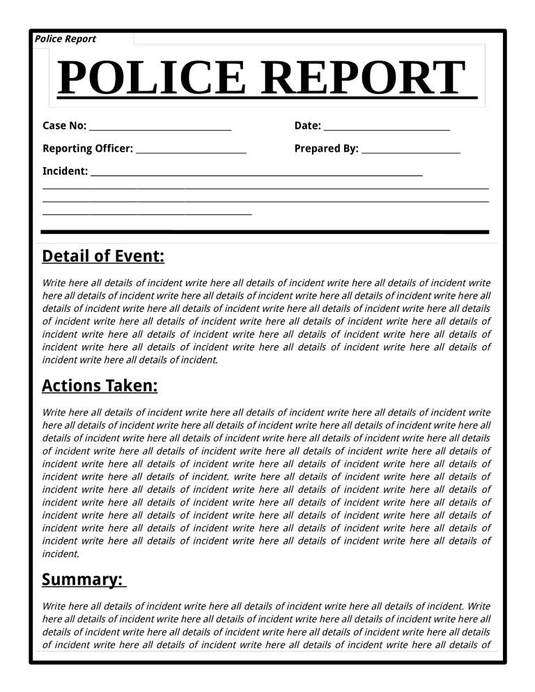 template topic preview image Free Police Report Template