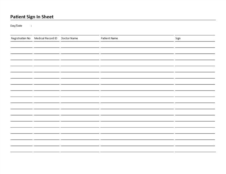 template preview imagePatient Sign In Sheet landscape