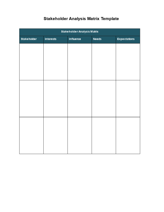 template topic preview image Stakeholder Analysis Matrix Template