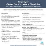 template topic preview image Back To Work Checklist Coronavirus for  Employer