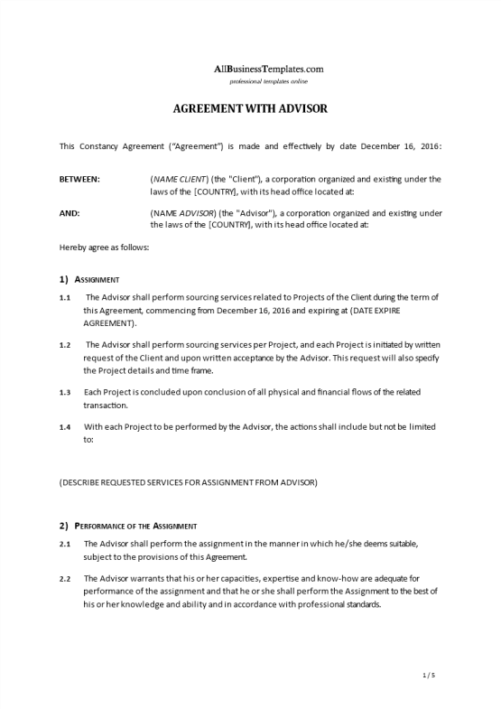 image Advisor Agreement Template