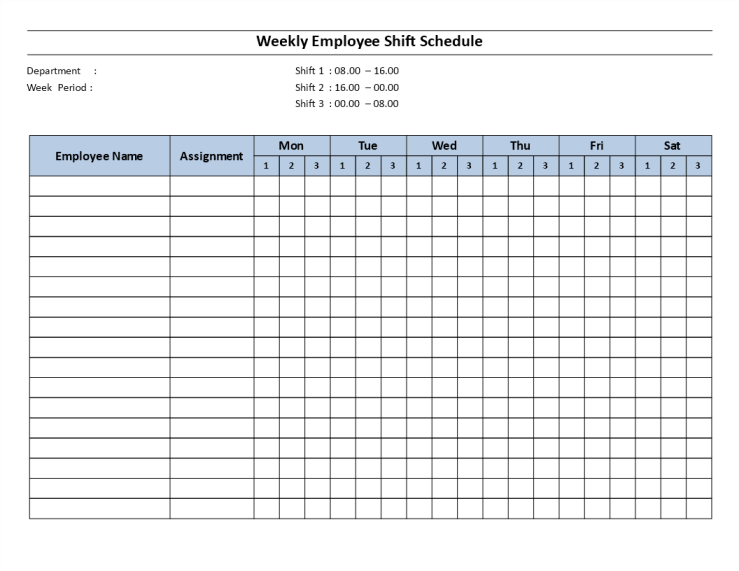 template topic preview image Weekly employee 8 hour shift schedule Mon to Sat