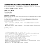 template topic preview image Professional Property Manager Resume