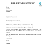 template topic preview image School Leave Letter By Self