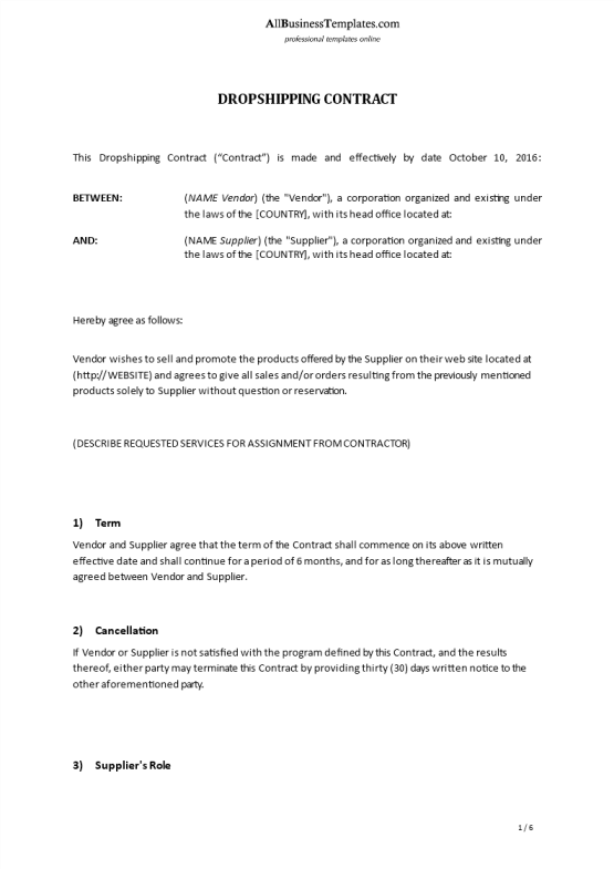 image Dropshipping Contract Template