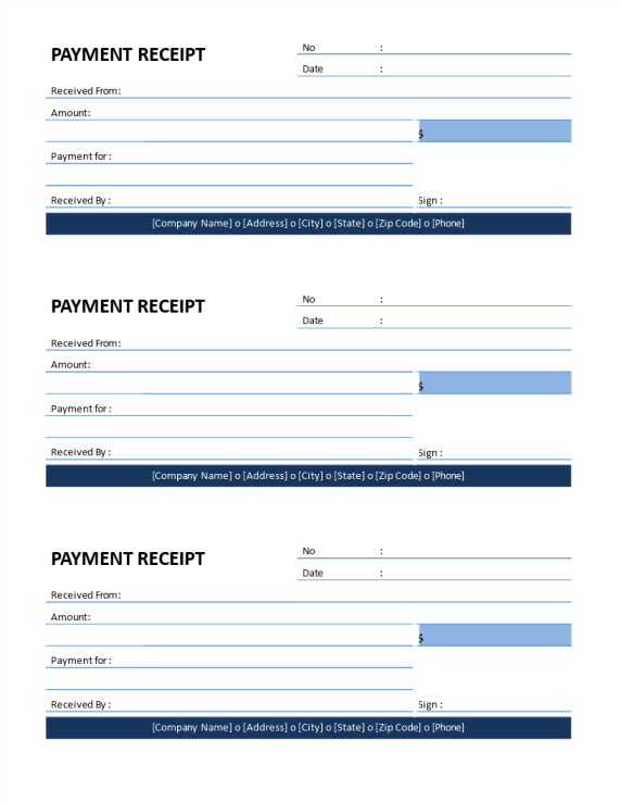 template topic preview image Printable Company Payment Receipt template