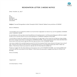template topic preview image Formal Resignation Letter With 2 Weeks Notice