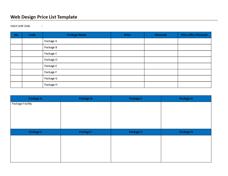 template topic preview image Webdesign Pricelist sheet template