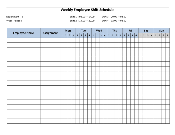 template topic preview image Weekly employee Shift ScheduleMon to Sun 4 Shifts