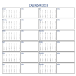 template topic preview image Calendar 2019 with Notes A4