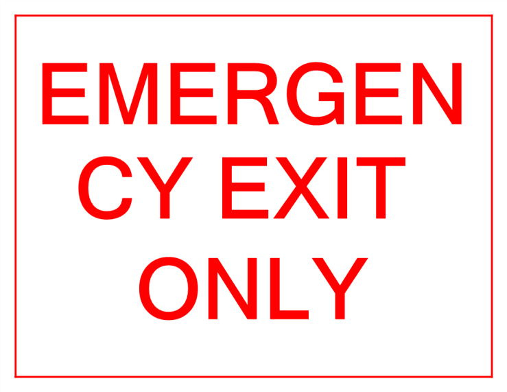 template topic preview image Emergency Exit Only sign