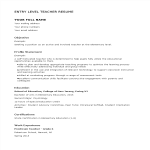 template topic preview image Entry Level Teacher Resume
