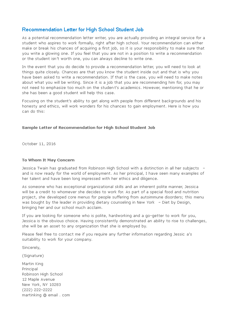 letter of recommendation for high school student for a job main image
