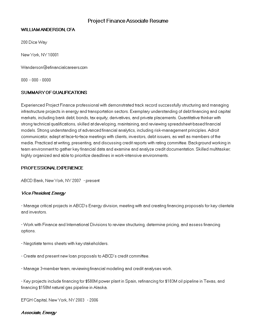 project finance associate resume sample main image