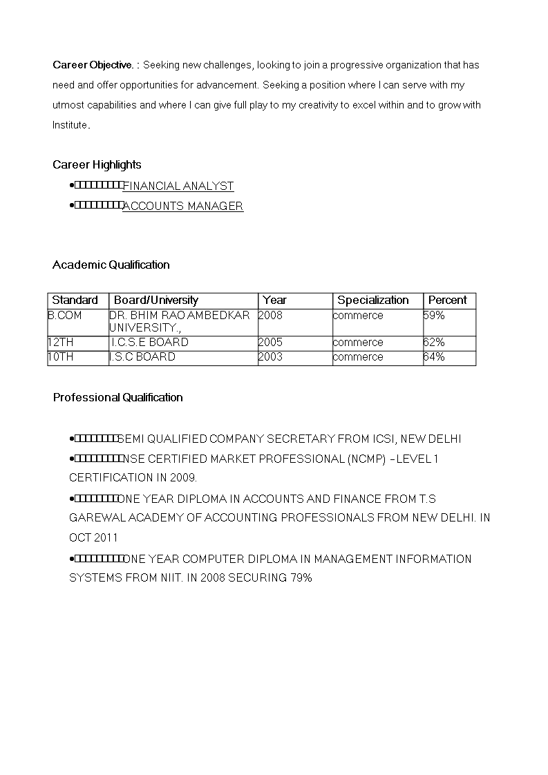 Free Fresher Resume Financial Analyst Templates At