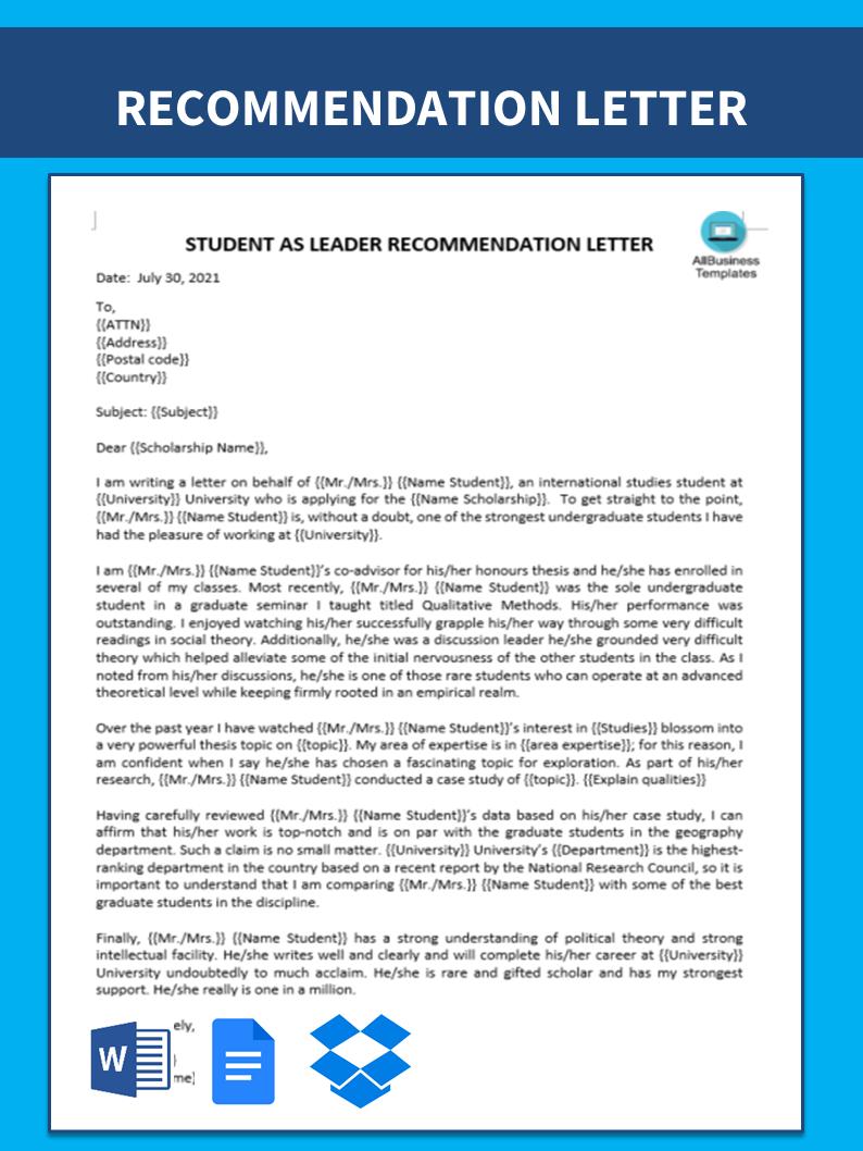 Scholarship Recommendation Letter Sample from www.allbusinesstemplates.com