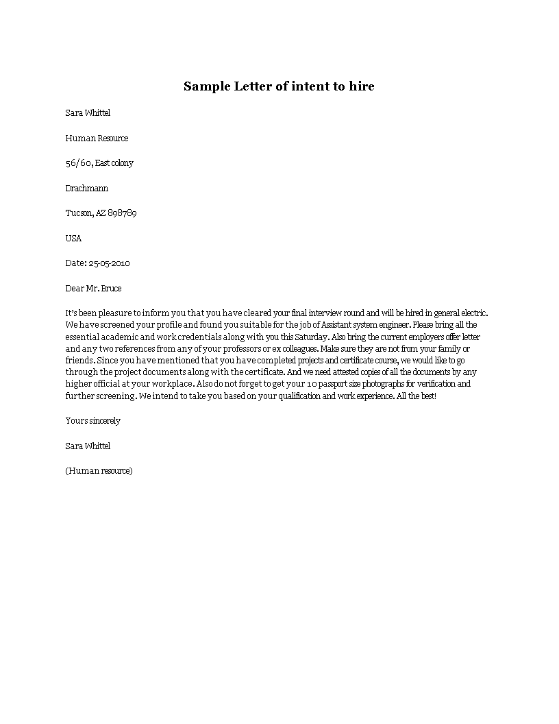 letter of intent to hire template - free letter of intent to hire templates at