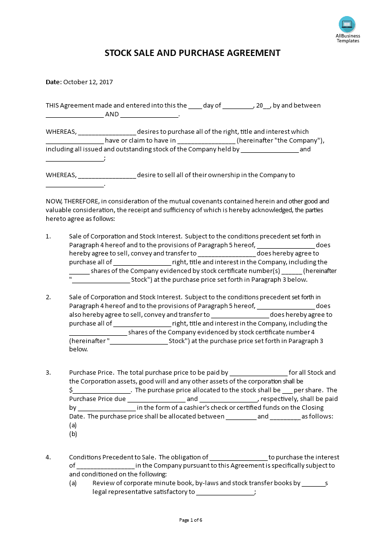 buy sell agreements templates - corporation buy sell agreement form templates at