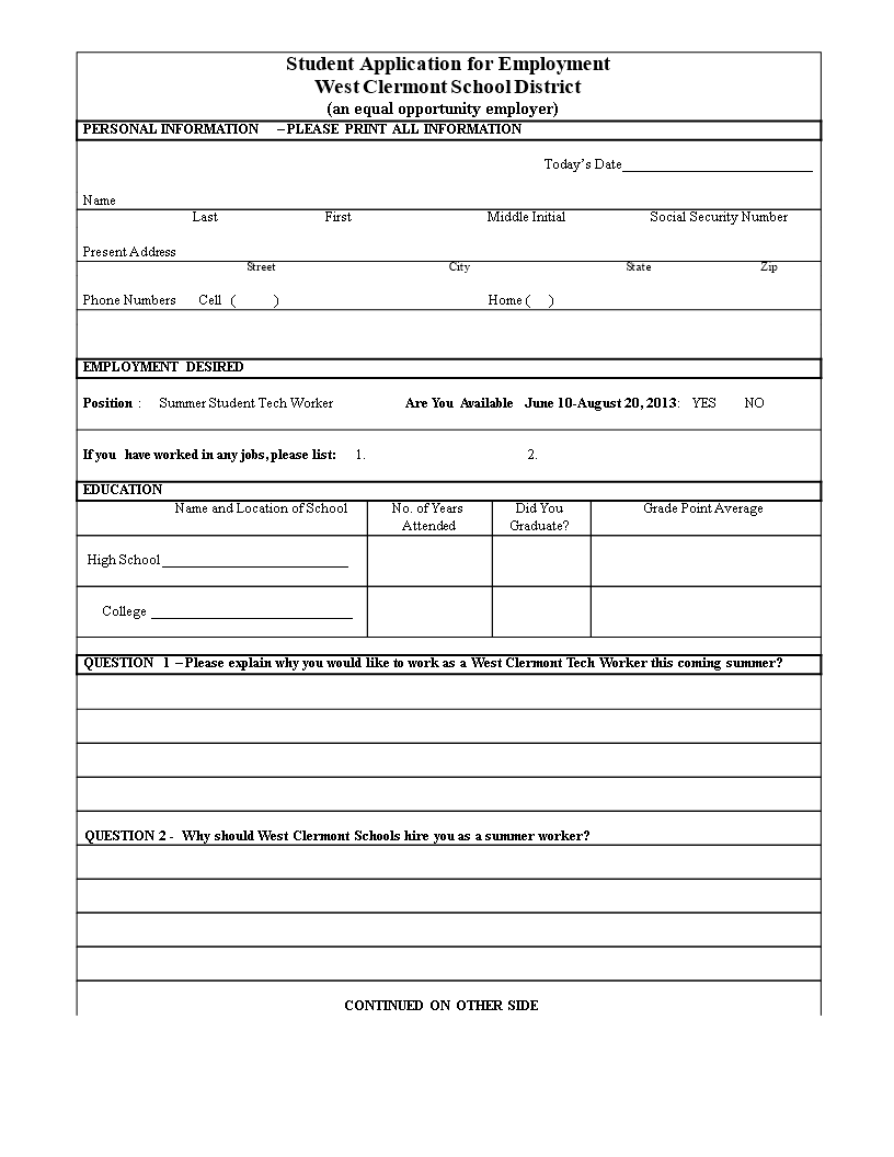free blank job application for student templates at