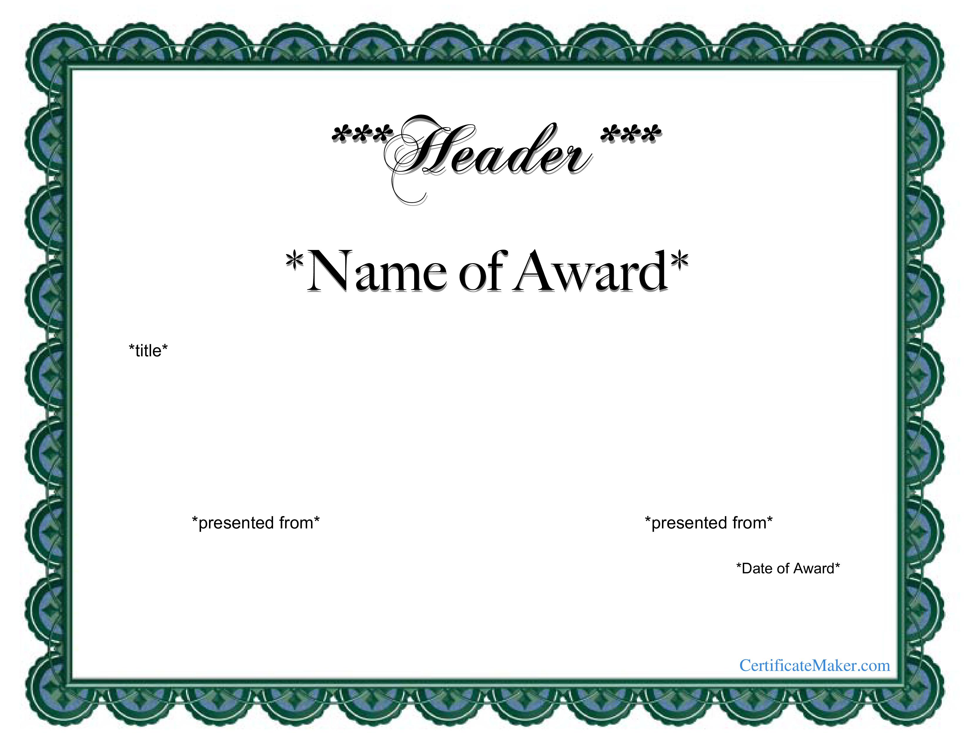 free printable award certificate templates at