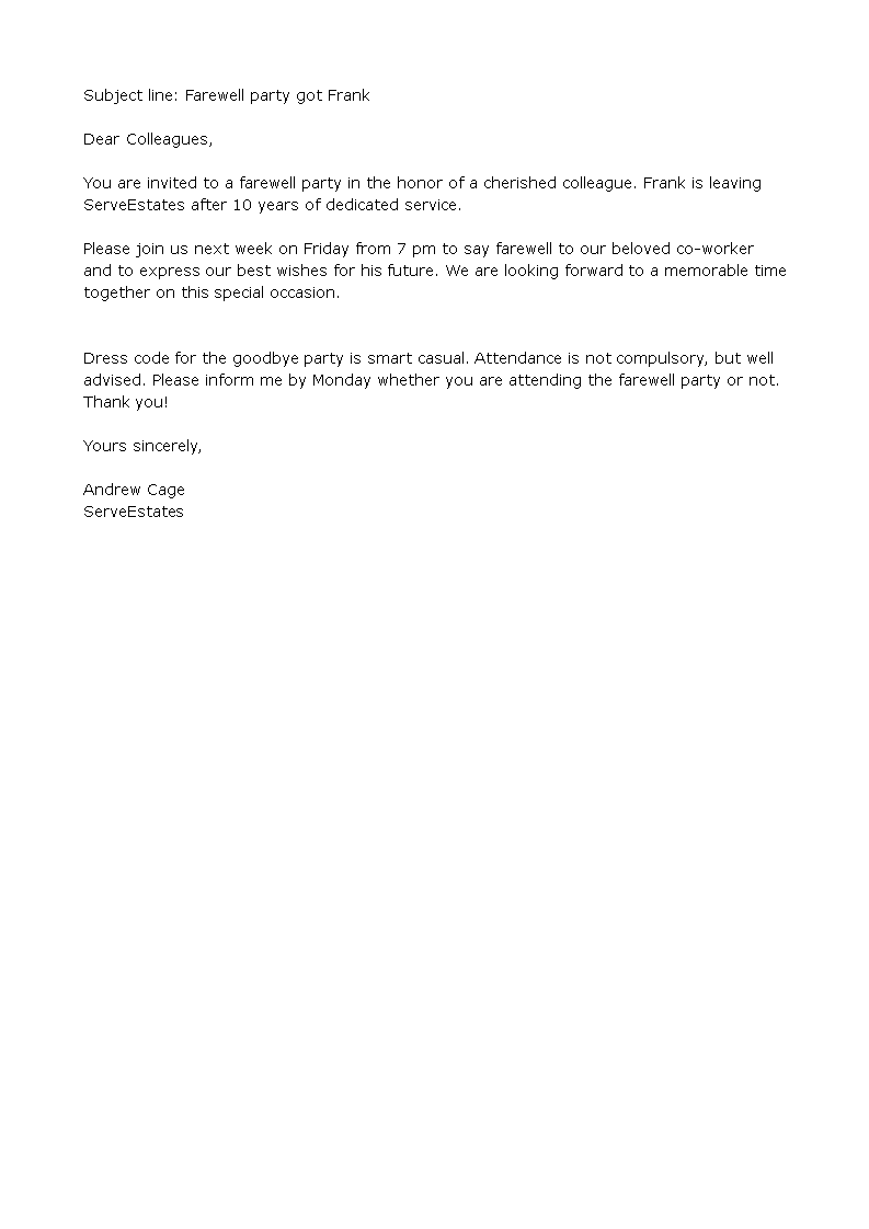 Farewell Party Invitation Email To Colleagues