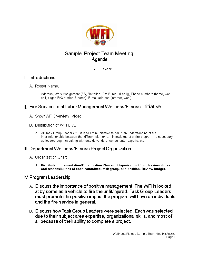 Sample Project Team Meeting Agenda Main Image