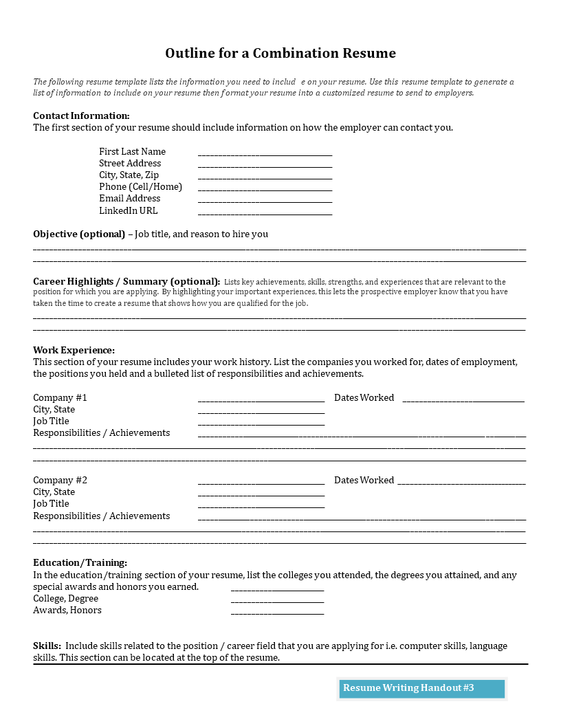 Free Outline For A Combination Resume Templates At