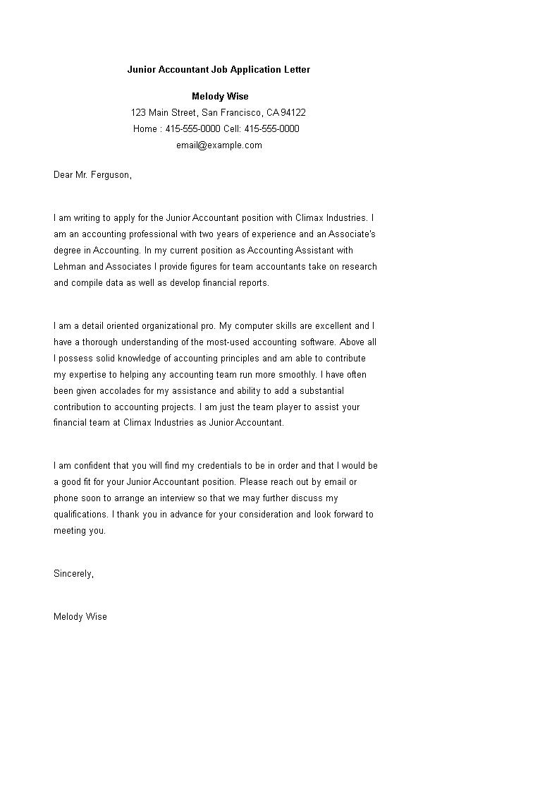 Free Junior Accountant Job Application Letter Sample Templates At