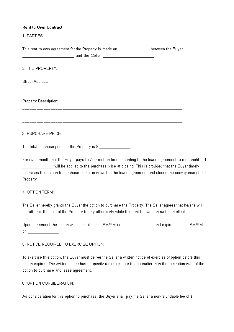 Free Rent To Own Real Estate Contract Templates At