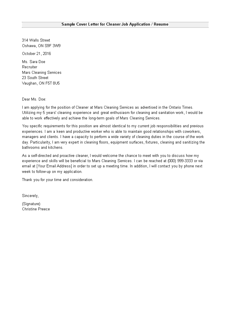 cover letter for cleaning company
