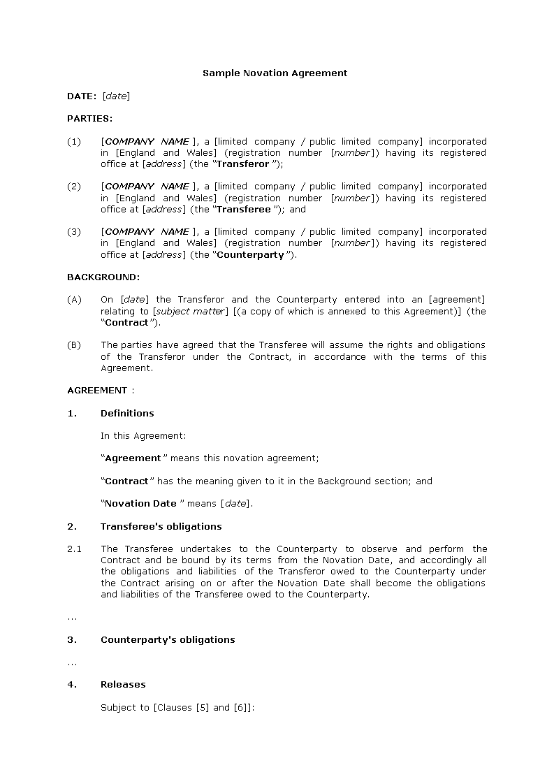 Novation Agreement Template | Free Novation Agreement Templates At Allbusinesstemplates Com