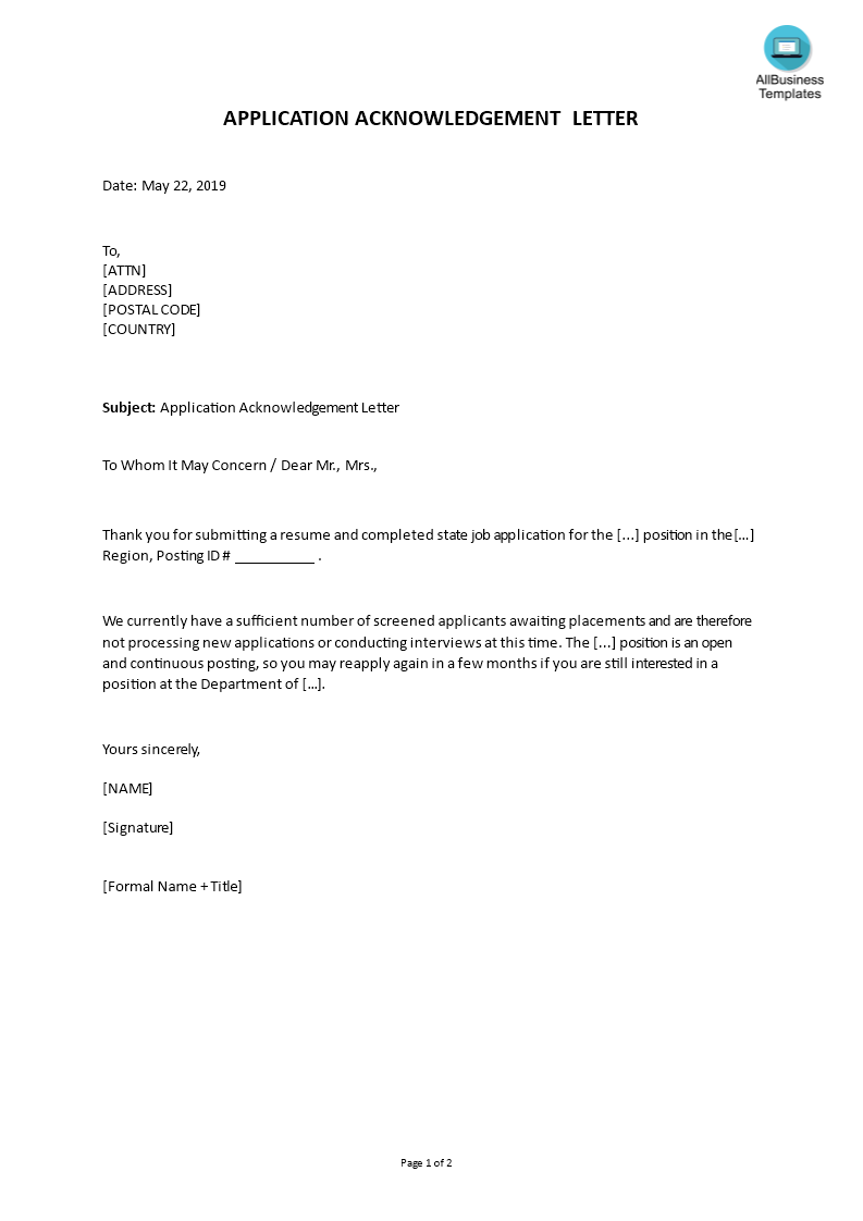 Rejection Job Application Acknowledgement Letter main image