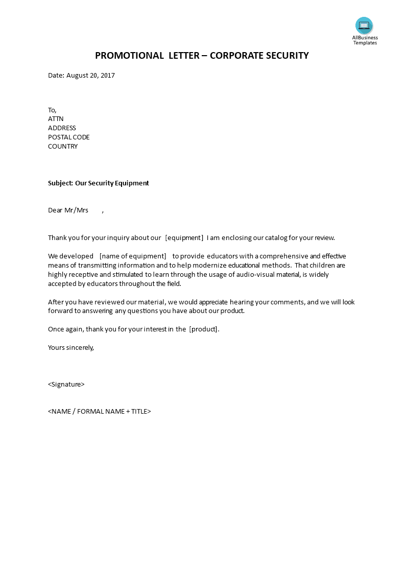 promotional letter for corporate security services templates at