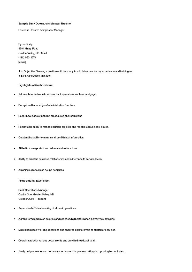 免费bank operations manager resume 样本文件在