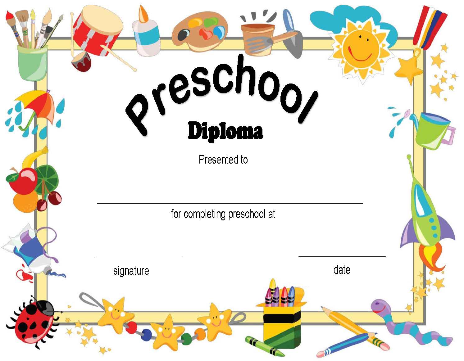 Free preschool diploma certificate templates at preschool diploma certificate main image download template yelopaper Gallery