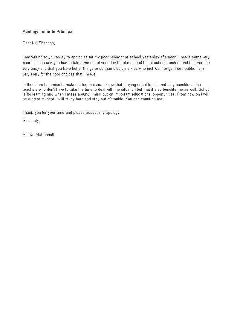 Apology Letter To Principal main image