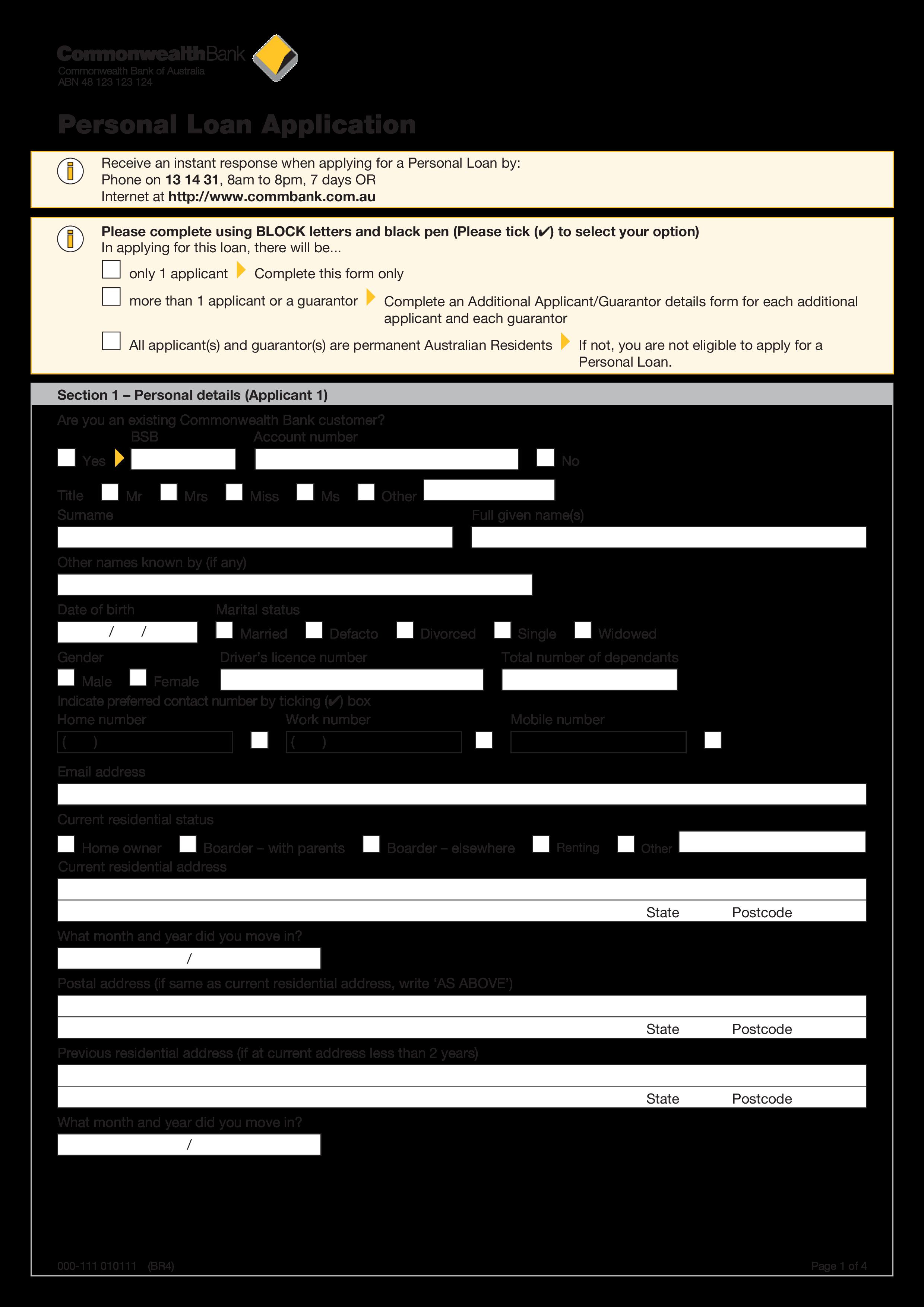 loan application templates