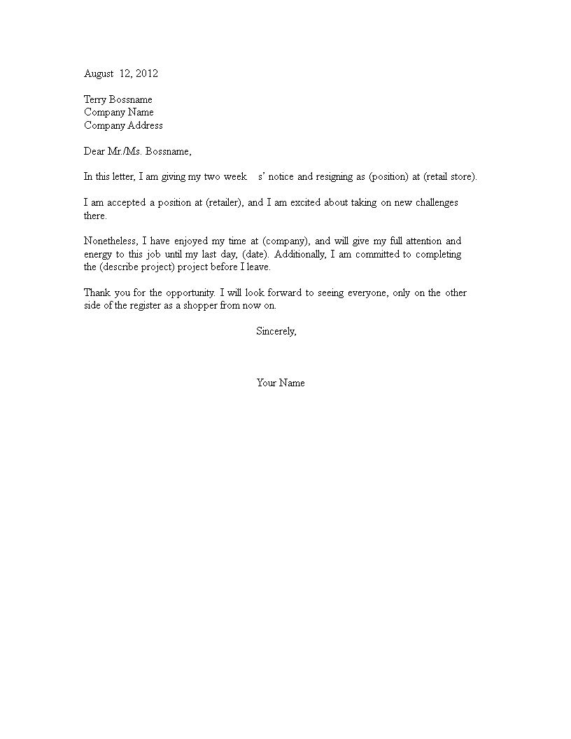 Free basic retail resignation letter templates at basic retail resignation letter main image expocarfo Choice Image