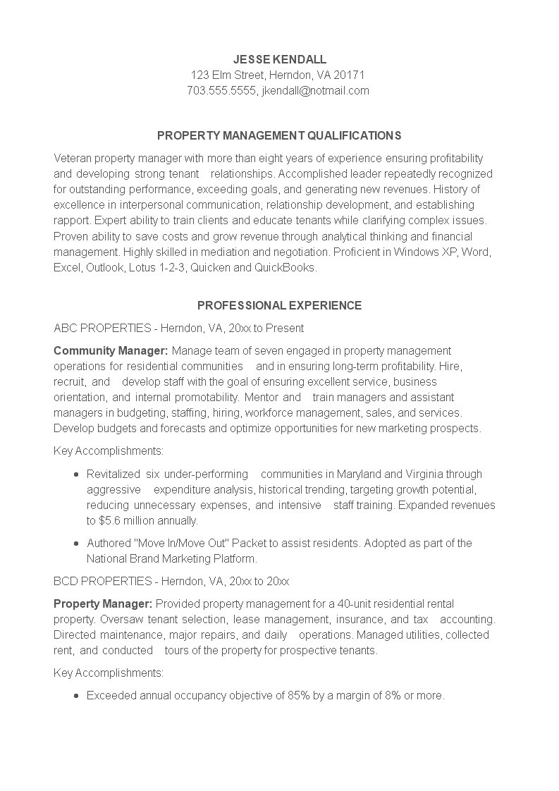 Sample Property Manager Resume Main Image