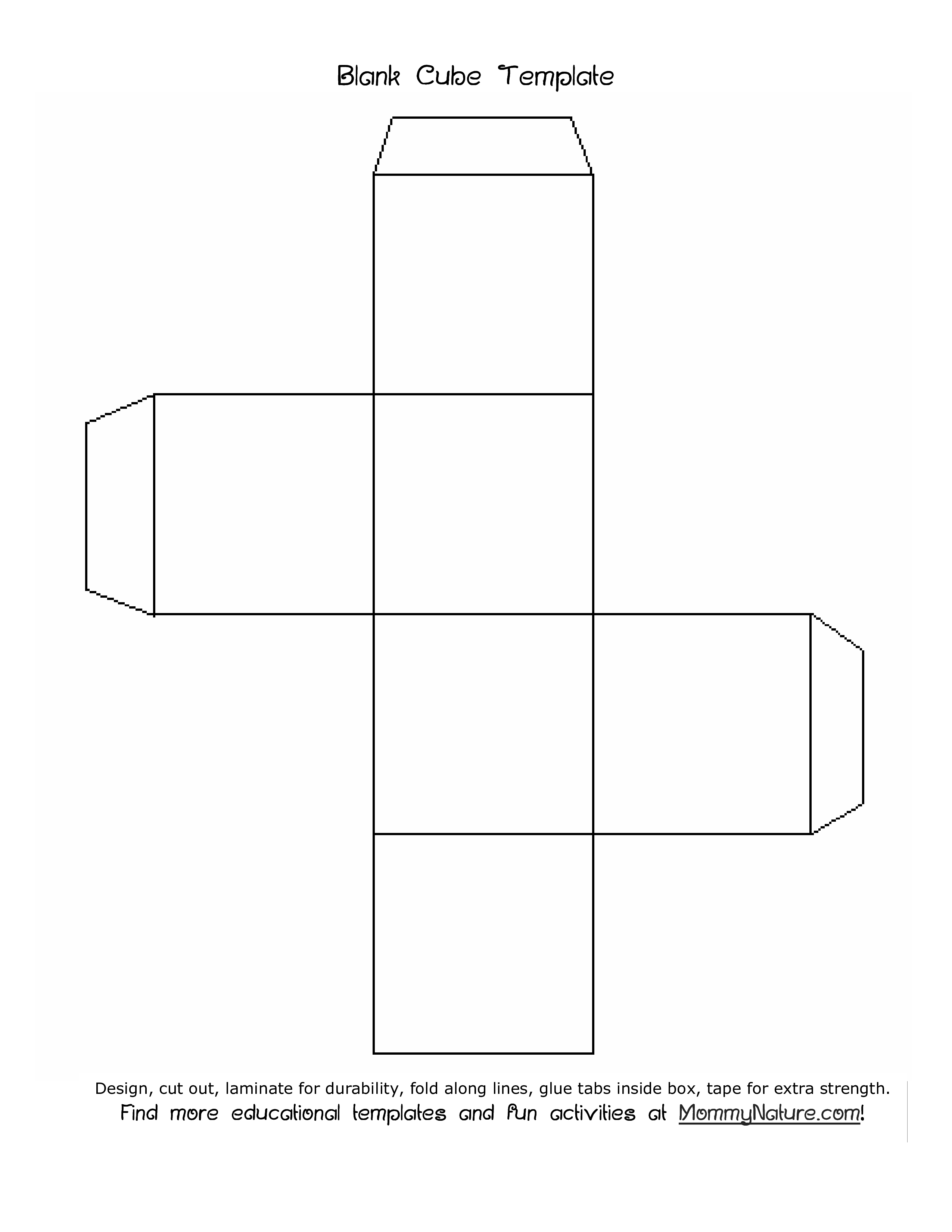 free blank cube template templates at