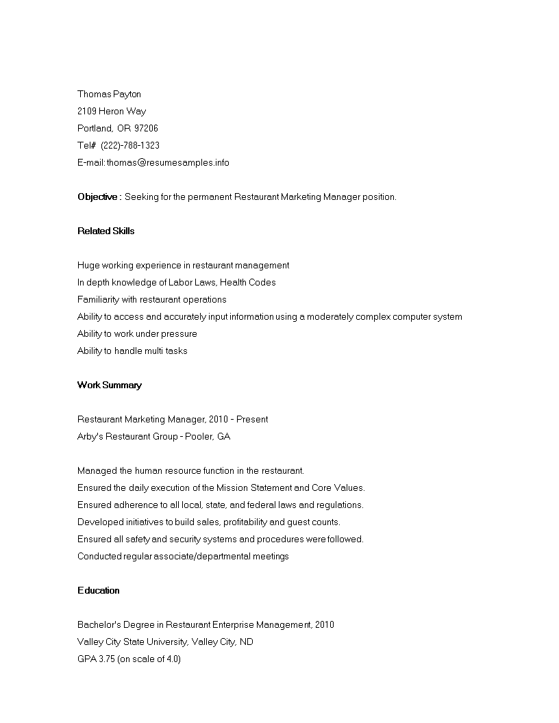 Free Sample Restaurant Marketing Resume Templates At