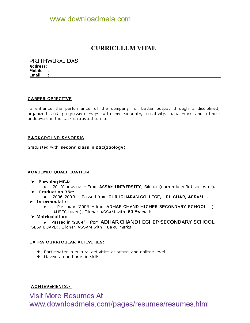 Free Mba Hr Fresher Resume Format Templates At