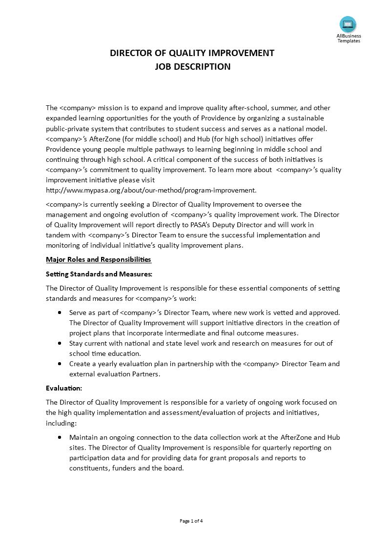 Director Of Quality Improvement Job Description Main Image Download Template