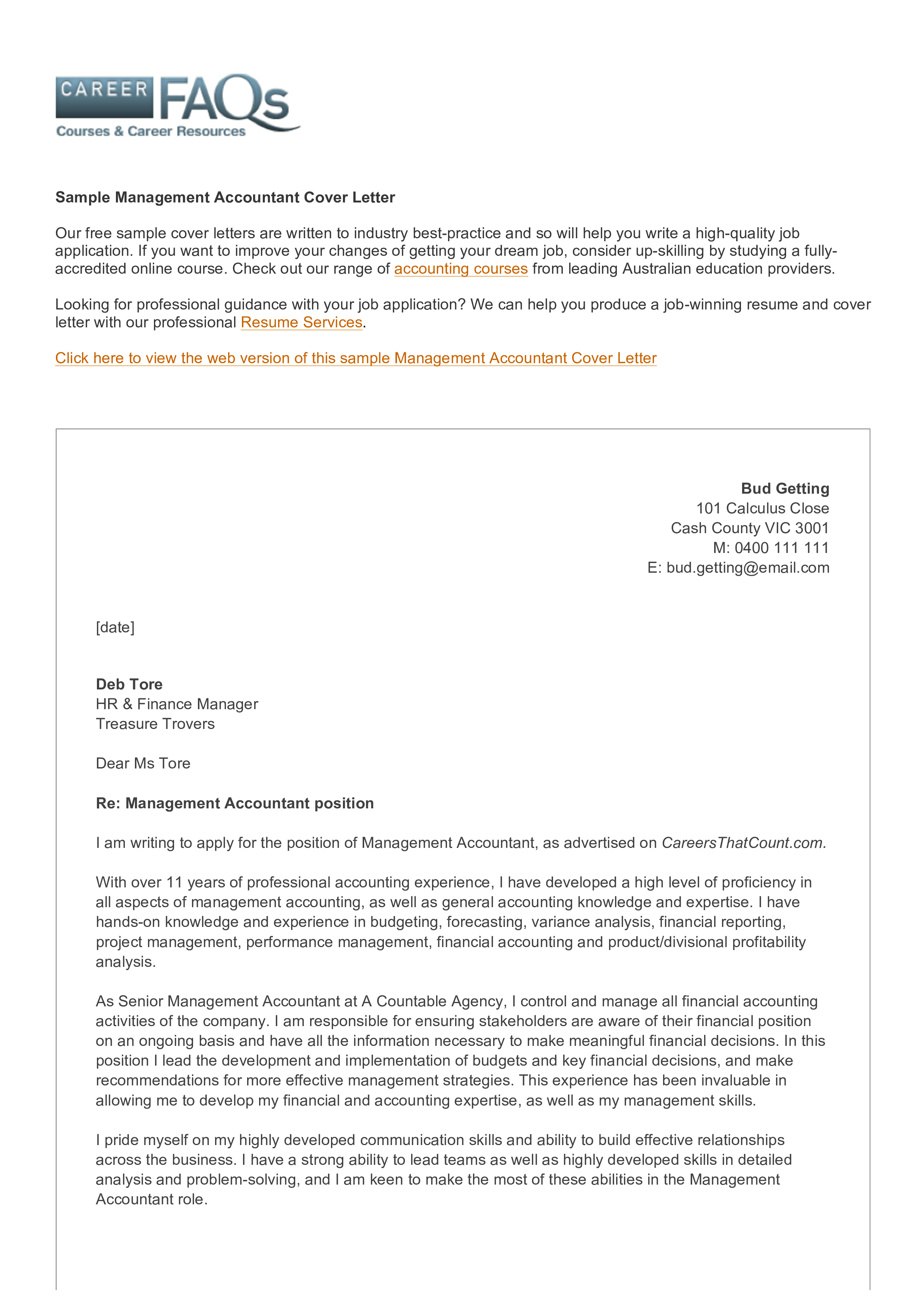 Management Accounting Position Cover Letter main image
