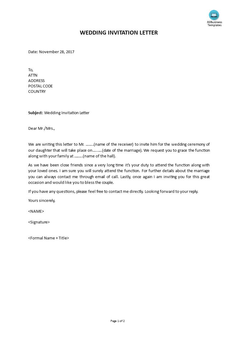 wedding invitation letter template main image