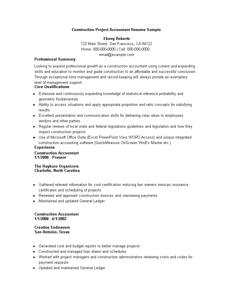 construction project accountant resume sample