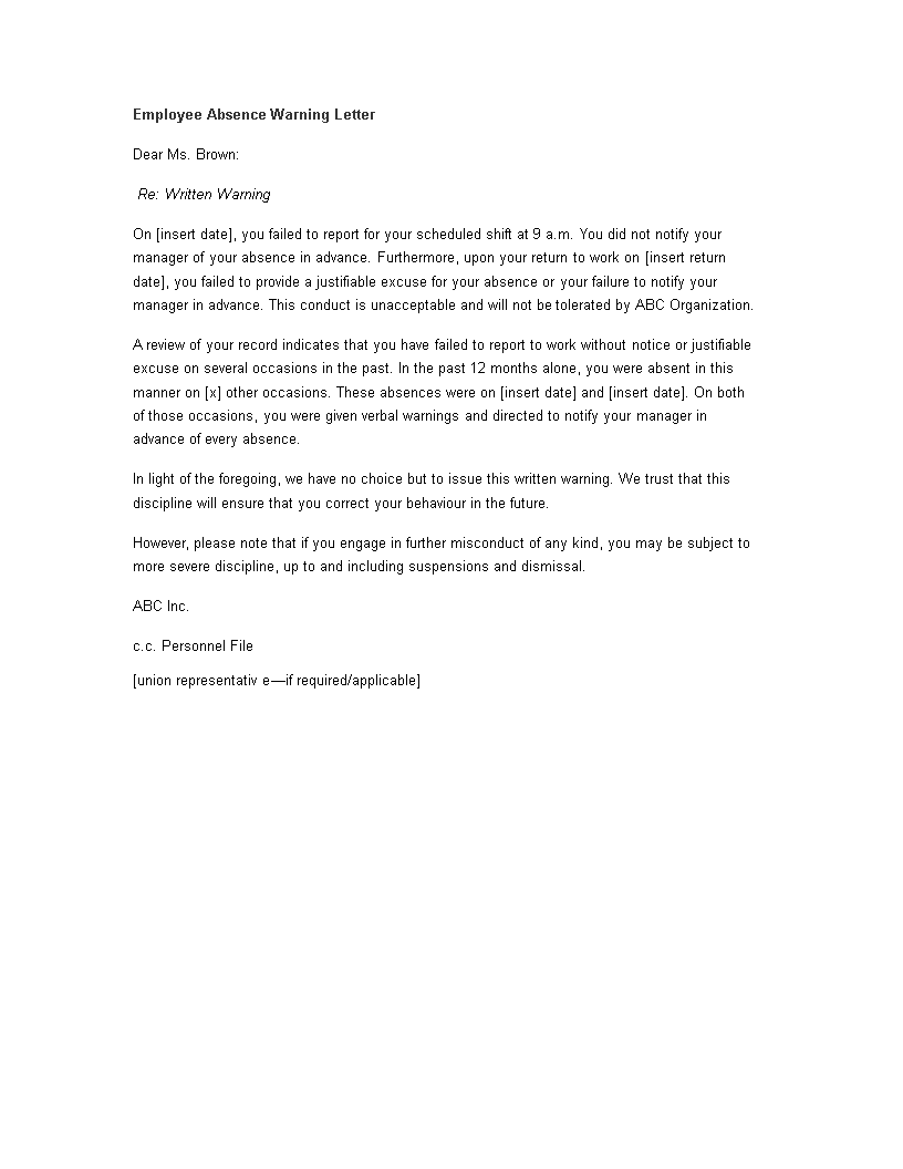 Warning Letter To Employee For Misconduct from www.allbusinesstemplates.com
