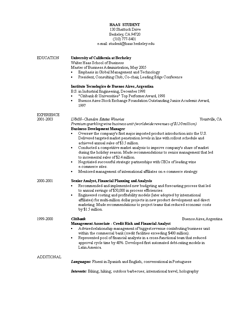 Free Business Student Resume Sample | Templates at ...
