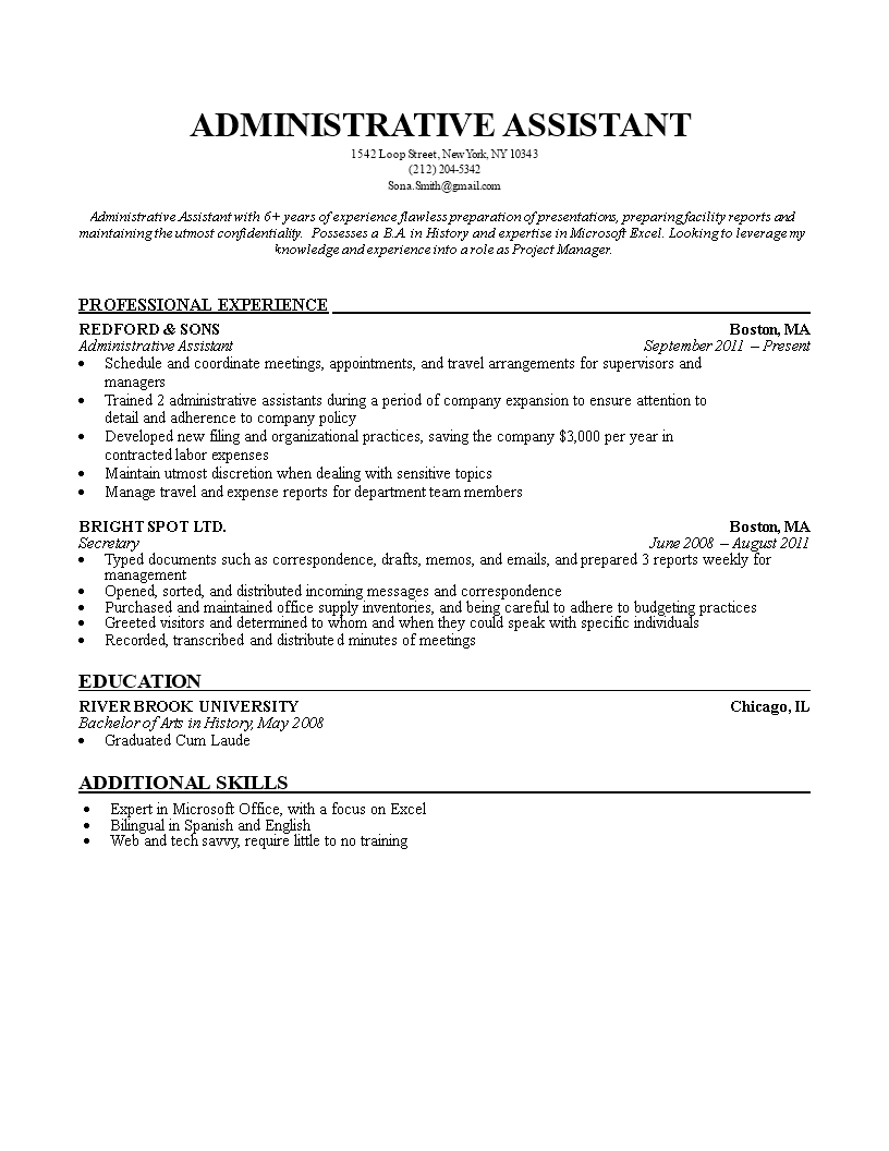 Administrative Assistant Resume Main Image Download Template